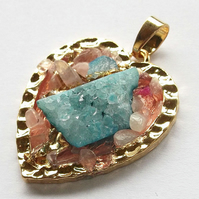 Ice Quartz Agate with Heart gold plated druzy style Pendant -3