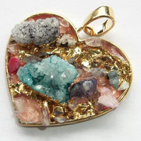 Ice Quartz Agate with Heart gold plated druzy style Pendant -4