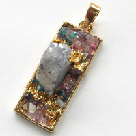 Ice Quartz Agate with Rectangle gold plated druzy style Pendant -1