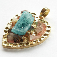 Ice Quartz Agate with Heart gold plated druzy style Pendant -1