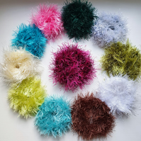 Faux Fur Crochet Scrunchies Chunky Bulky Elastic Hair Bands Ponytail Holder New