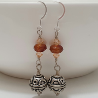 Carnelian Agate Natural Gemstone and Bali Beads 925 Sterling Silver Earrings