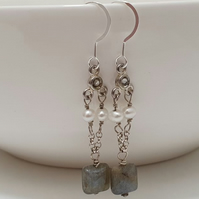Natural Labradorite White Pearls 925 Sterling Silver Art Deco Style Earrings