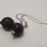 Natural Black Lava Stone Beads Sterling Silver Earrings