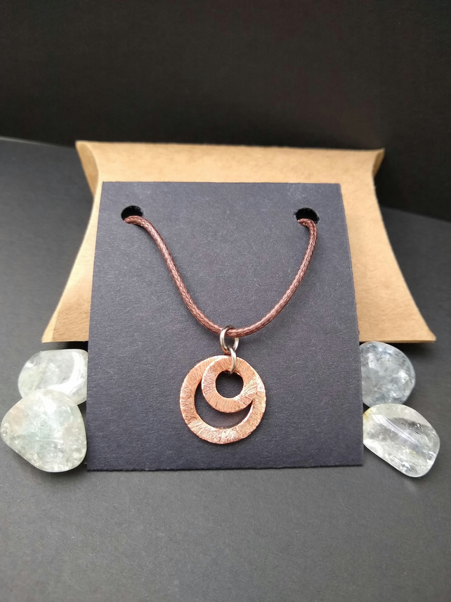 Distressed copper necklace