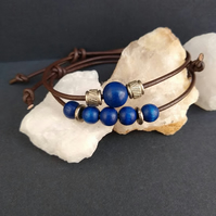 Blue beaded stacker adjustable friendship bracelet set