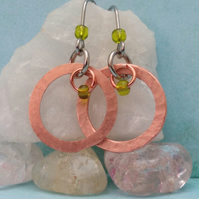 Copper drop earrings- hammered copper and lime green seed bead earrings