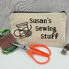 Personalised sewing case, craft storage, sewing bag.