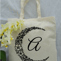 Personalised floral crescent moon tote bag