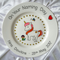 Baby's Personalised Unicorn & Rhinestones Christening or Baptism Plate