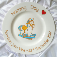 Baby Boy's Rocking Horse Keepsake.  Personalised Naming Day Gift