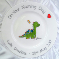 Boy's Personalised Dinosaur Christening or Baptism Plate