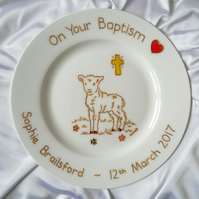 Personalised Lamb with Cross Baptism or Holy Communion Plate