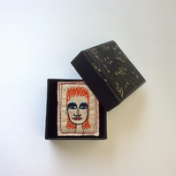 David Bowie Life On Mars sewn brooch
