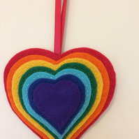 Handmade Multi Coloured Hanging Hearts