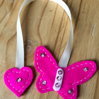 Hot Pink Butterfly Bookmark