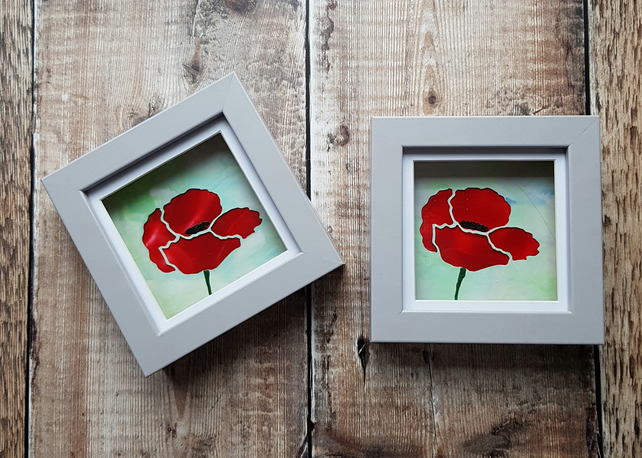 Mini Framed Encaustic Wax Painted Poppy