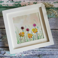 Framed Encaustic Wax Painted Meadow