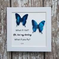 Mini frame - 'What If I Fall' Quote Detailing Encaustic Wax Painted Butterflies