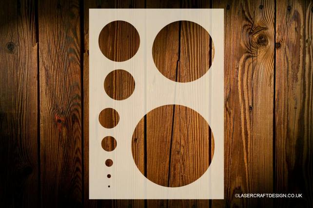 Circles Stencil, Various Sizes, Reusable, Arts Crafts Walls Decor Wood Furniture