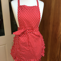 Red Dotted Red Apron , Ladies Apron