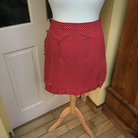 Half Apron, Red Dotted Half Apron
