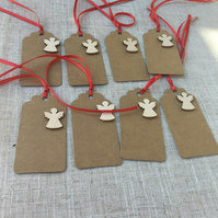 Angel Gift Tags, Angel Gift Tags with Red Ribbon