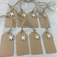 Snow Flake Gift Tags,  Wooden Snow Flakes Gift Tags with String.