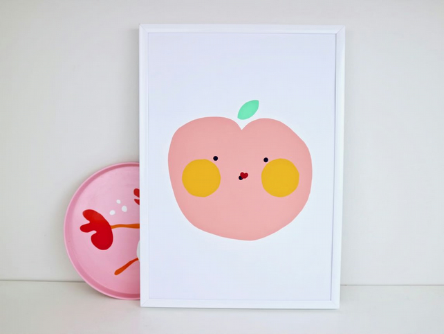 A4 Cute Pink Apple Screen Print by janeBprints