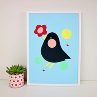 A4 Blue Retro Scandi Black Bird Print by janeBprints