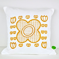 "14"" Yellow Scandi Tulip Flower Print Cushion by janeBprints"