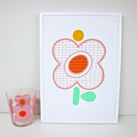 A4 Pastel Pink Tulip Screen Print by janeBprints