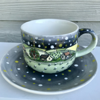 Starry night cup and saucer.