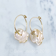 Natural Keshi Petal Pearl Hoop Earrings.
