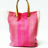 Pretty Pattern Large Tote Bag - Handwoven & Sustainable