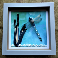 Azure Hawker Beaded Dragonfly Box Frame