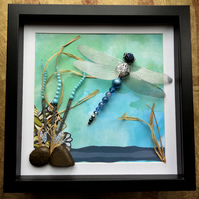 On Azure Wings, Beaded Dragonfly Box Frame