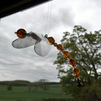 Amber Beaded Dragonfly Suncatcher Hanging Decoration