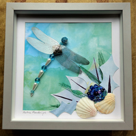 Maritime Meanderings, Beaded Dragonfly Box Frame