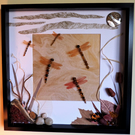 Sunset Squadron Beaded Dragonflies Box Frame Art