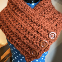 Super chunky crochet snood with buttons.