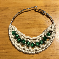 Hello June...silver plated hoop earrings with crochet and emerald design.