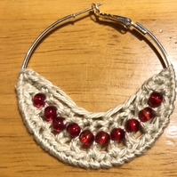 Hello July...silver plated hoop earrings with crochet and ruby design.