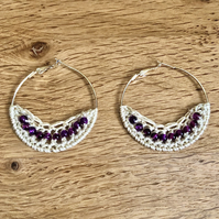 Hello February...silver plated hoop earrings with crochet and amethyst design.