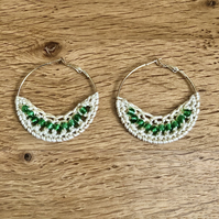 Hello May....silver plated hoop earrings with crochet and emerald design.