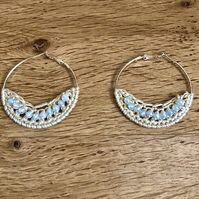 Hello October...silver plated hoop earrings with crochet and opal design.