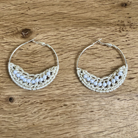 Hello June...silver plated hoop earrings with crochet and pearl design.