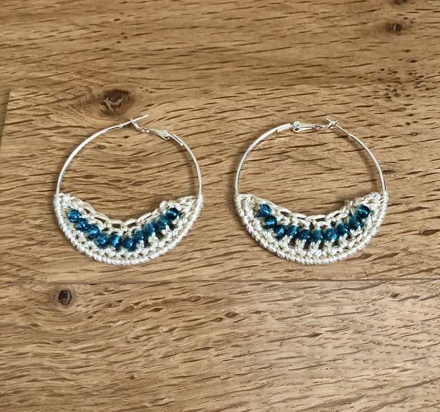 Hello December....Silver plated earrings with crochet and turquoise  design.