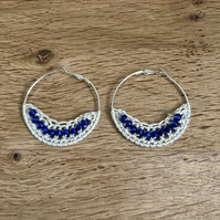 Hello September....Silver plated earrings with crochet and sapphire  design.