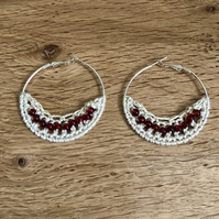 Hello January....Silver plated earrings with crochet and garnet design.